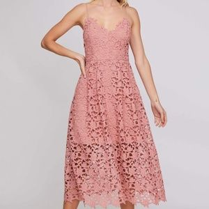 ASTR the Label Lace Midi Dress in Blush - Size M